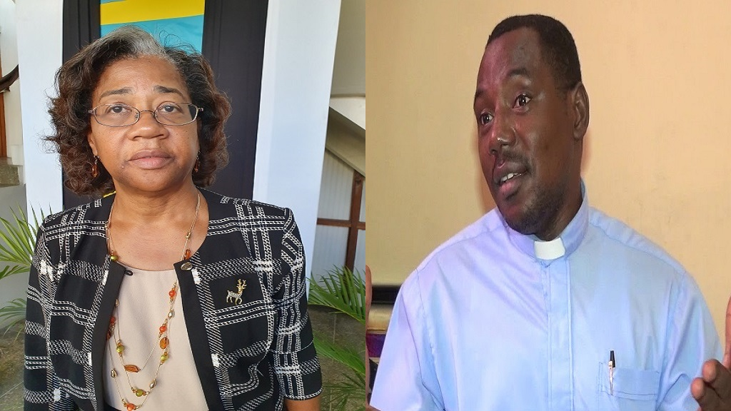 Health Minister, Senator Mary Isaac (Left), Reverend Seth Ampadu (Right)