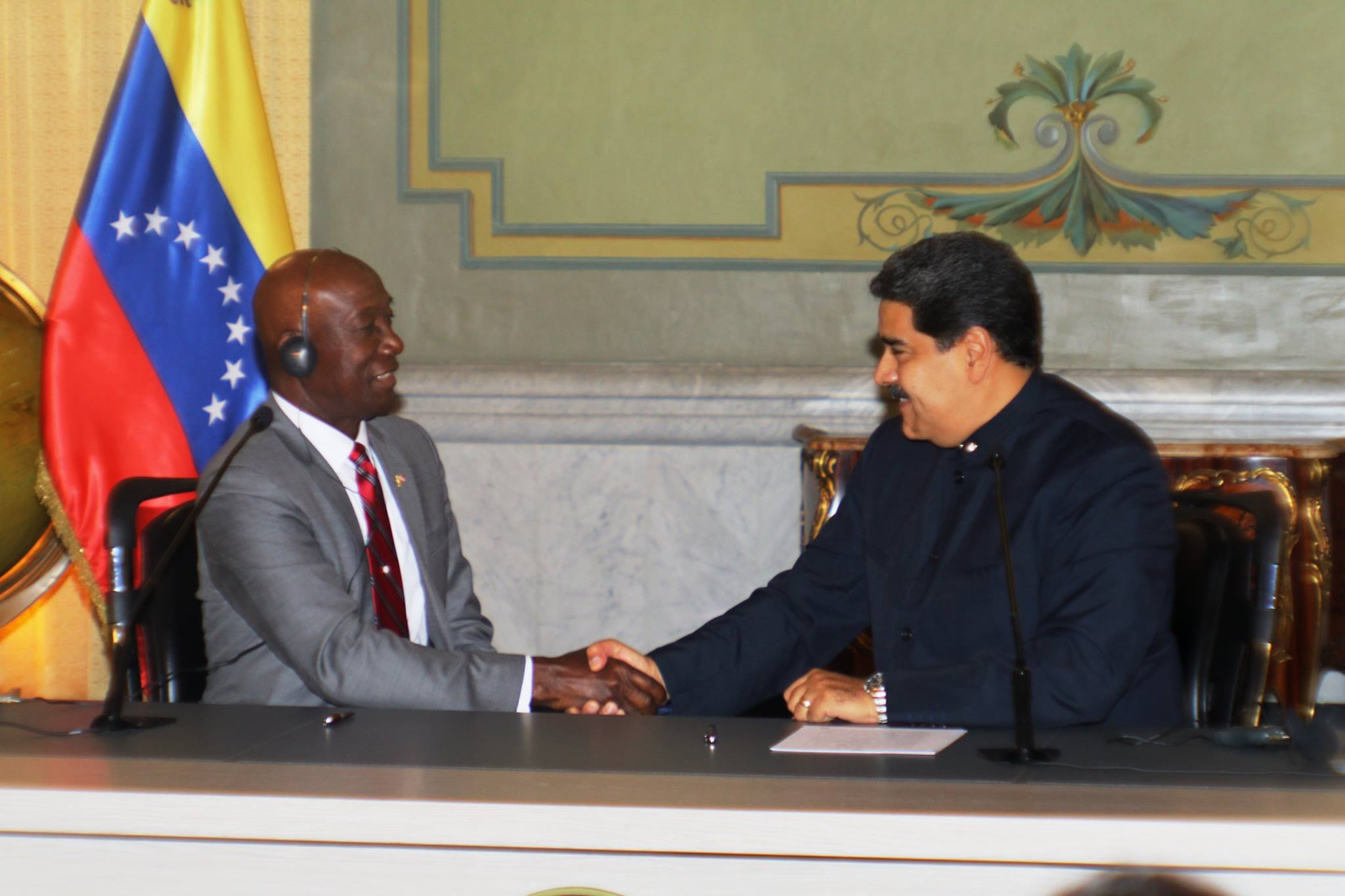 Flashback: Prime Minister Dr Keith Rowley and Venezuelan President Nicolas Maduro sign an agreement on the Dragon gas field.