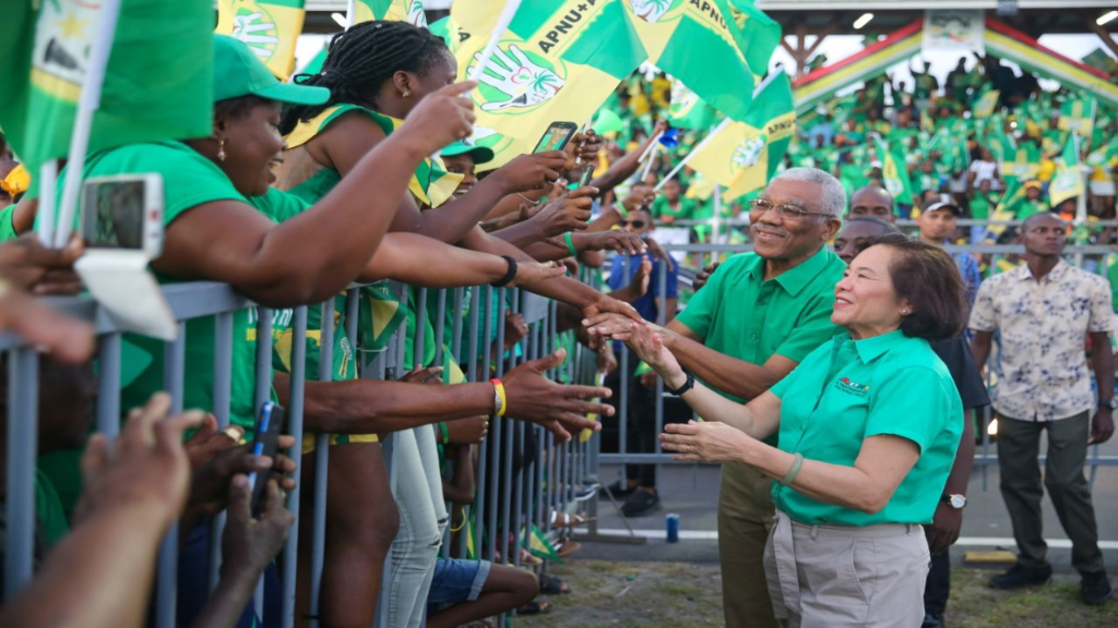 President David Granger and First Lady Sandra Granger greeting supporters at an APNU+AFC at the final 2020 Election Rally. Photo: APNU+AFC