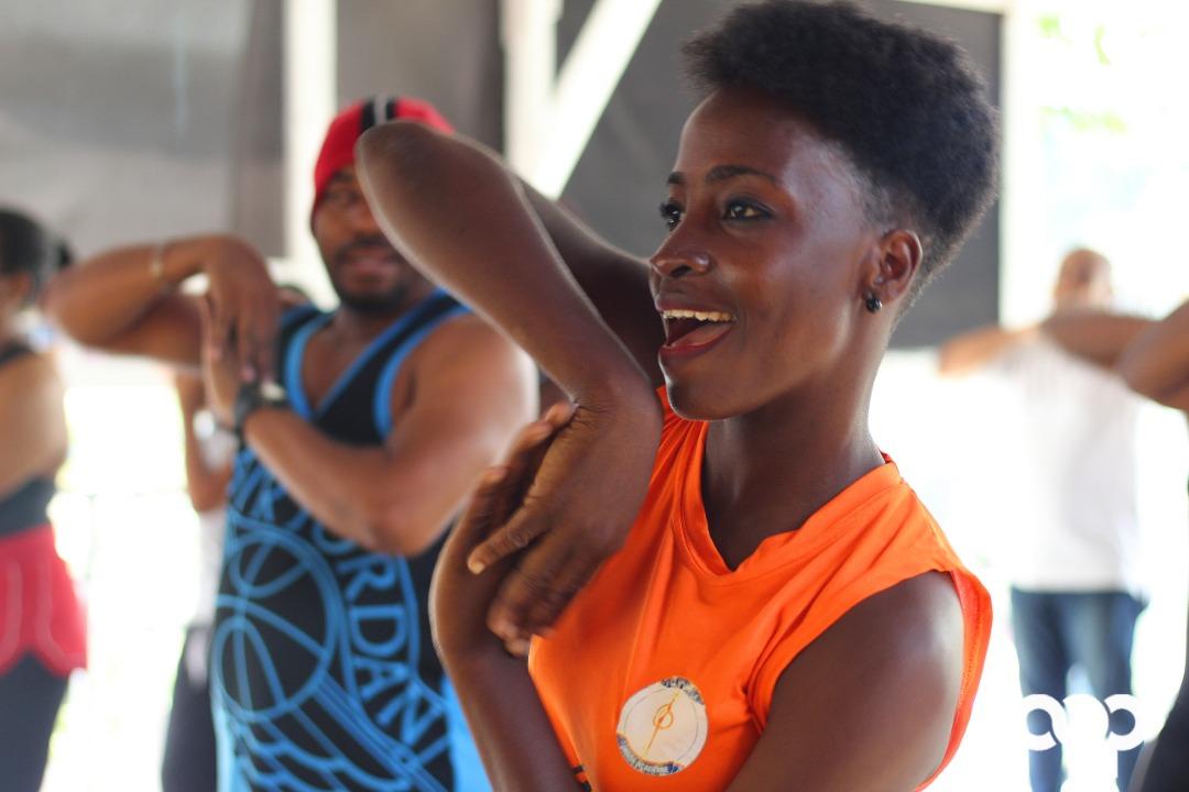 Sendia  Morency en pleine séance d'entraînement. Photo : Eberline Nicolas/ Loop Haiti