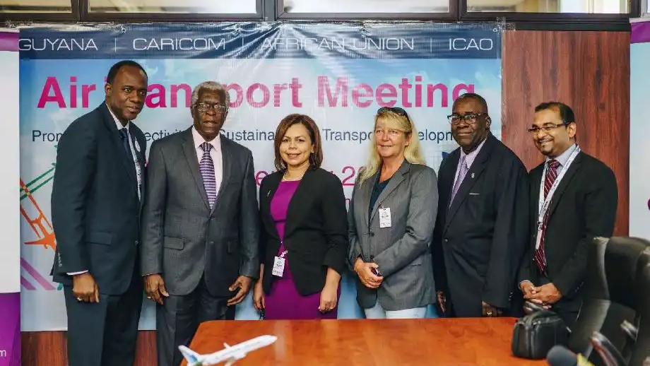 (L-R) Carl Stuart, General Manager (Ag.), Guyana, Caribbean Airlines, Lt. Col. (Retd.) Egbert Field, Director General, Alicia Cabrera, Senior Marketing Manager, Caribbean Airlines, Liz Wyatt, General Manager, Sol Aviation Inc., Franklyn Veira, Director – Marketing and Operational Support and Saheed Sulaman, Director, Air Transport Management, Guyana Civil Aviation Authority