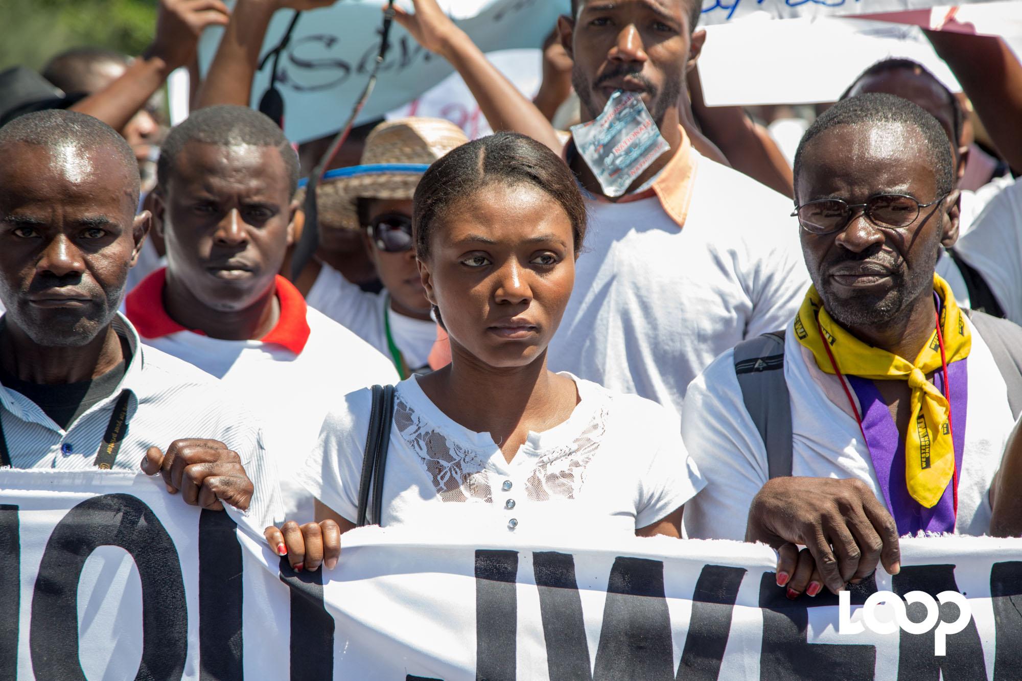 Marche des journalistes en mémoire du photojournaliste Vladjimir Legagneur à Port-au-Prince 28 mars 2018. Photo: Estailove St-Val