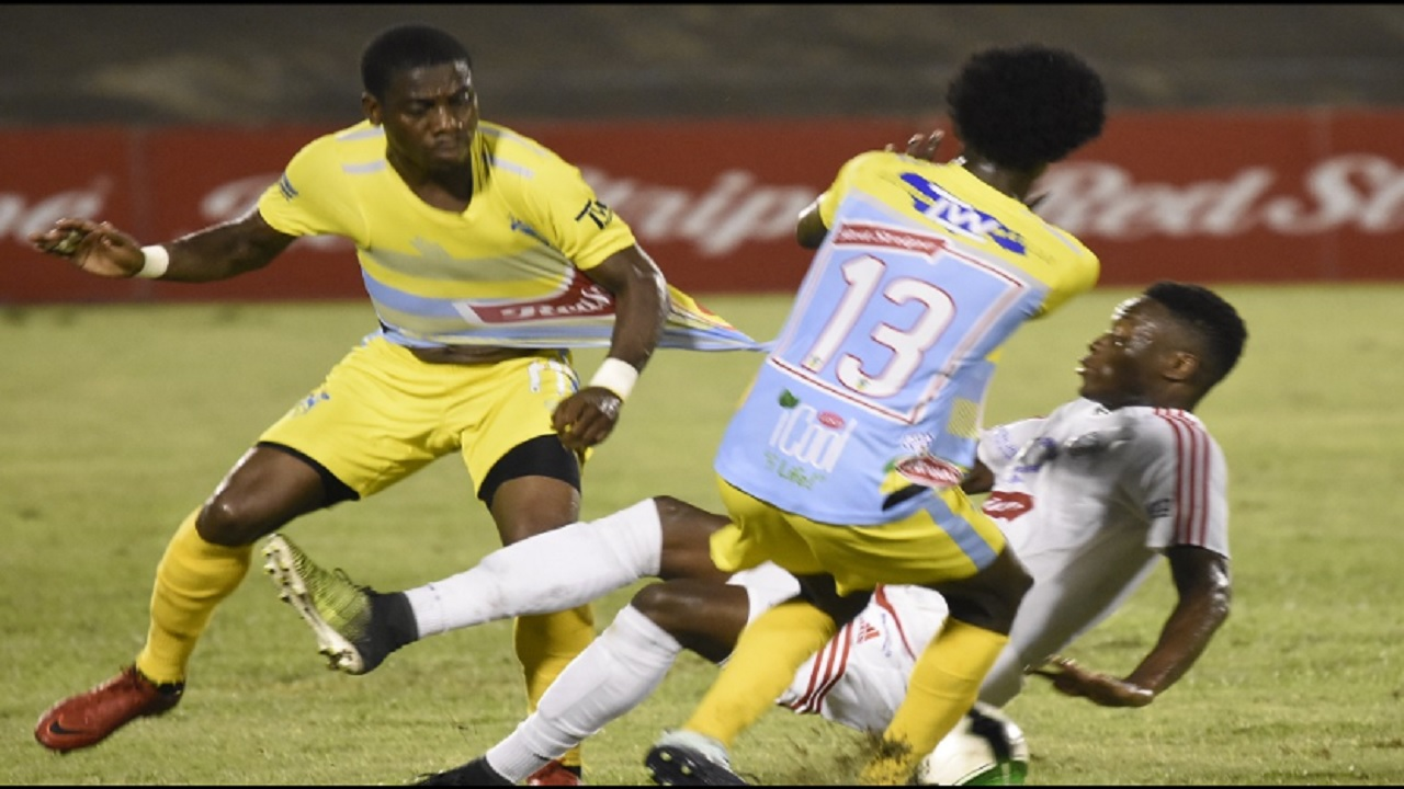 File photo shows action from the final of the the 2017-2018 Red Stripe Premier League (RSPL) between Portmore United and Waterhouse at the National Stadium on Monday, April 23, 2018.