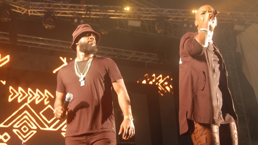 Bunji Garlin and Fay Ann Lyons hyped up the crowd following Buju Banton's performance at the Dominica World Creole Music Festival. Photo: Laura Dowrich-Phillips