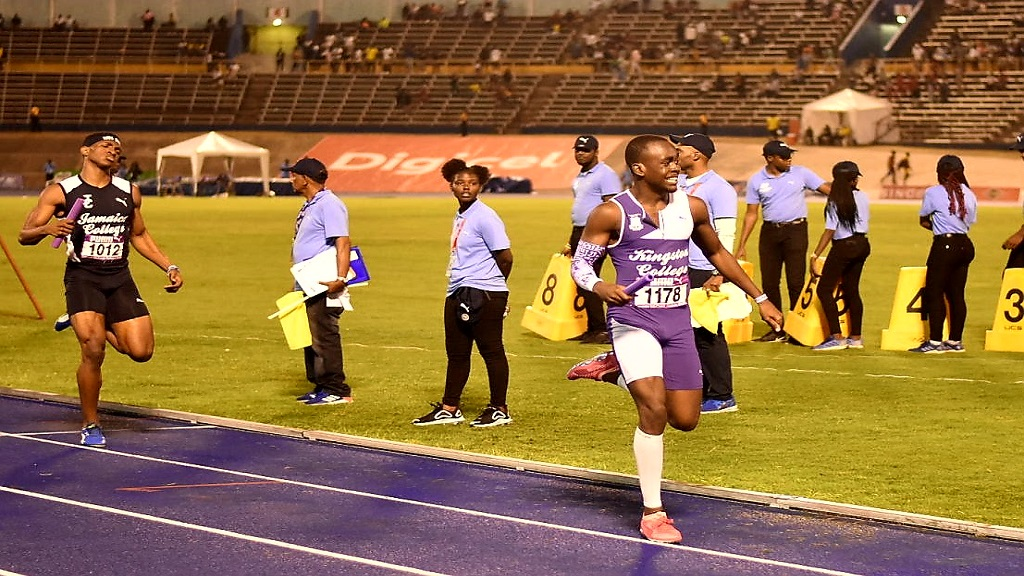 St Lucian Michael Joseph anchors KC to victory in the Boys' 4x400m open relay, the closing event of the 44th Gibson McCook Relays, at the National Stadium on Saturday, February 29, 2020. (PHOTOS: Marlon Reid).