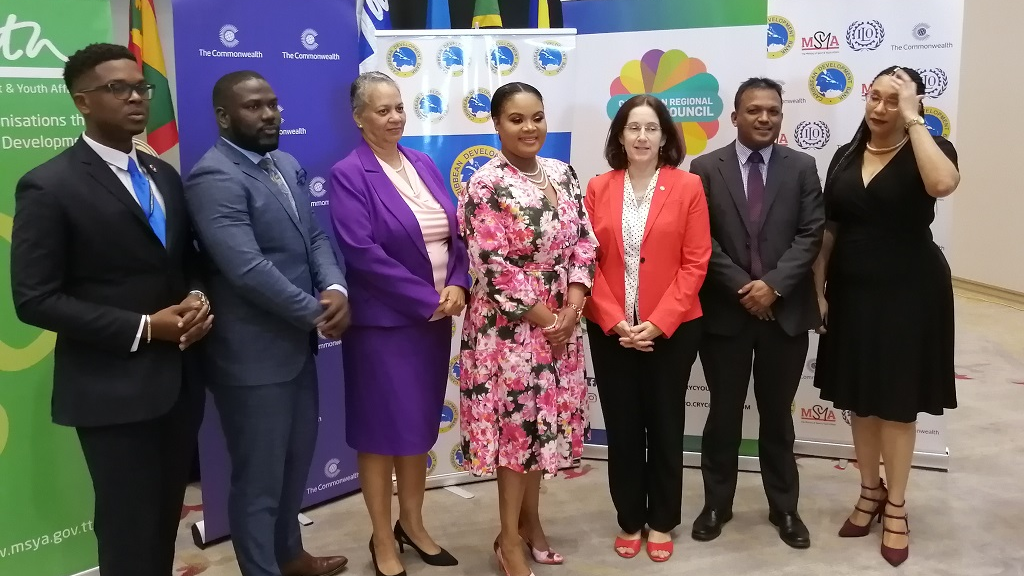 Minister of Sport and Youth Affairs, Shamfa Cudjoe, with other official speakers