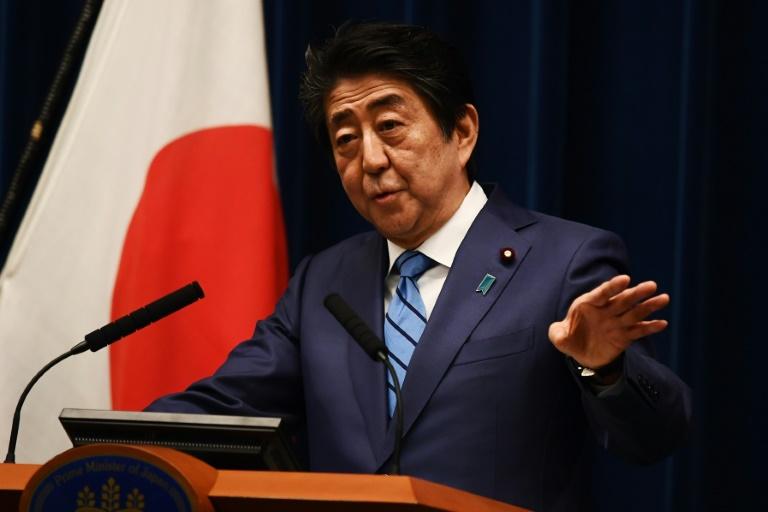 Le Premier ministre japonais Shinzo Abe en conférence de presse à Tokyo, le 14 mars 2020