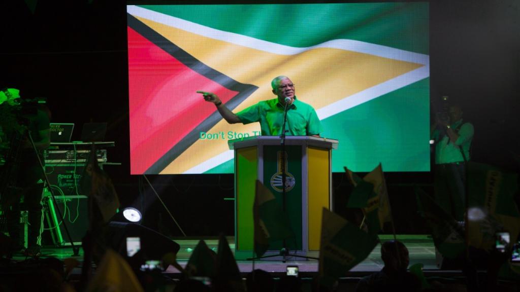 President David Granger addressing APNU+AFC supporters at at the Diamond Tarmac, East Bank Demerara on Wednesday, February 6, 2020. Photo: APNU+AFC