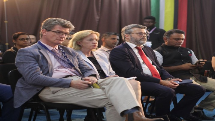 UK High Commissioner Greg Quinn (left), US Ambassador Sarah-Ann Lynch, and EU Ambassador Fernando Ponz Canto sitting with to Indian High Commissioner to Guyana K.J. Srinivasa at a GECOM Media briefing on March 3,2020. Photo: Dillon De Shong