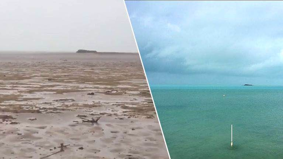 Before and after images of a beach in the Bahamas following Hurricane Irma. Images sourced on Facebook.