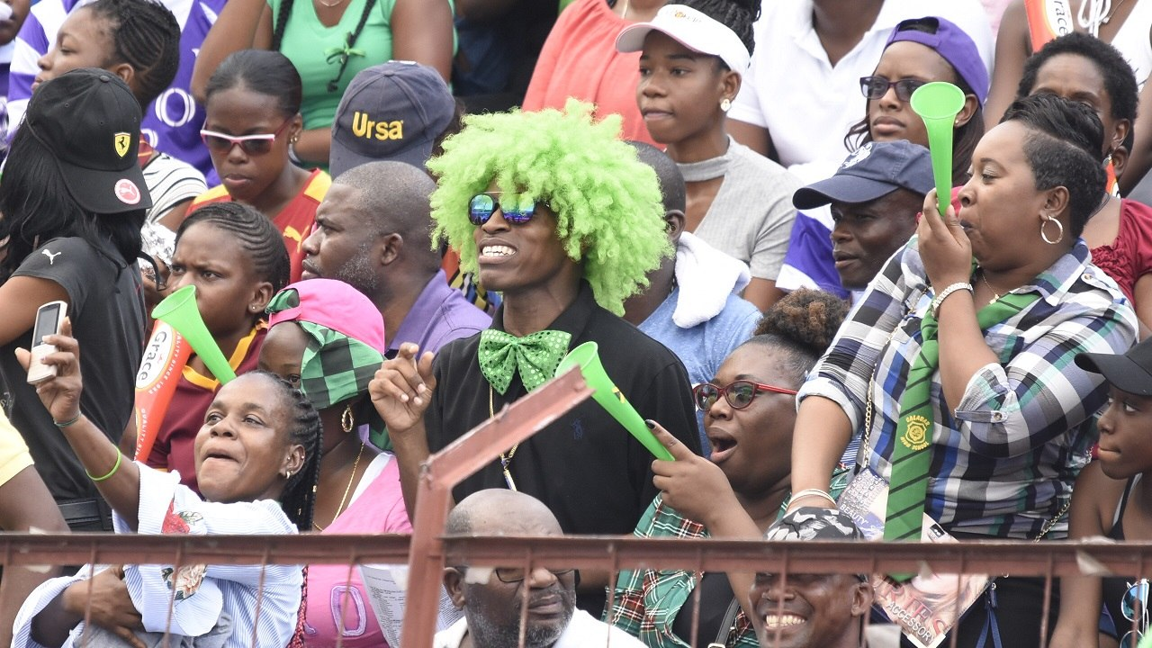 A section of the crowd at the 2019  ISSA/GraceKennedy Boys and Girls' Athletics Championships at the National Stadium.