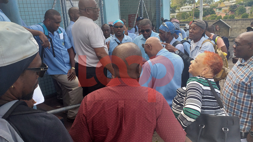 SSA workers laying out concerns to Minister of the Environment, Hon. Trevor Prescod