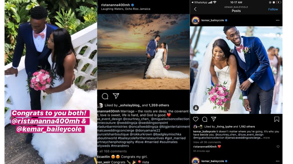 Kemar Bailey-Cole and Ristananna Tracey are married. (Photos: via Instagram)