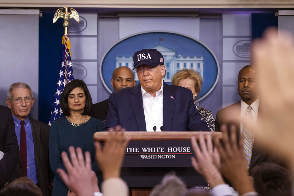 President Donald Trump speaks during a news conference about the coronavirus in the James Brady Briefing Room at the White House, Saturday, March 14, 2020, in Washington. (AP Photo/Alex Brandon)
