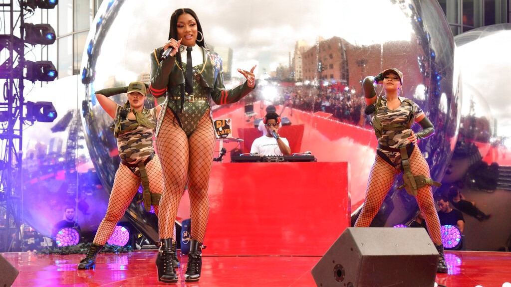 In this Aug. 26, 2019, file photo, Megan Thee Stallion performs at the MTV Video Music Awards at the Prudential Center in Newark, N.J. (Photo by Charles Sykes/Invision/AP, File)