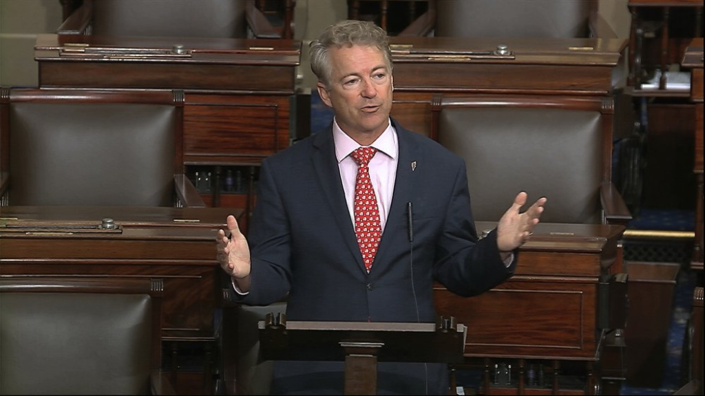 In this image from video, Sen. Rand Paul, R-Ky., speaks on the Senate floor at the U.S. Capitol in Washington, Wednesday, March 18, 2020. (Senate Television via AP)