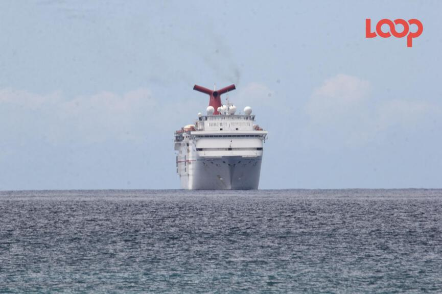 The Carnival Fascination is docked off the shores of Barbados as Ministry of Health official prepare to conduct testing for the coronavirus.