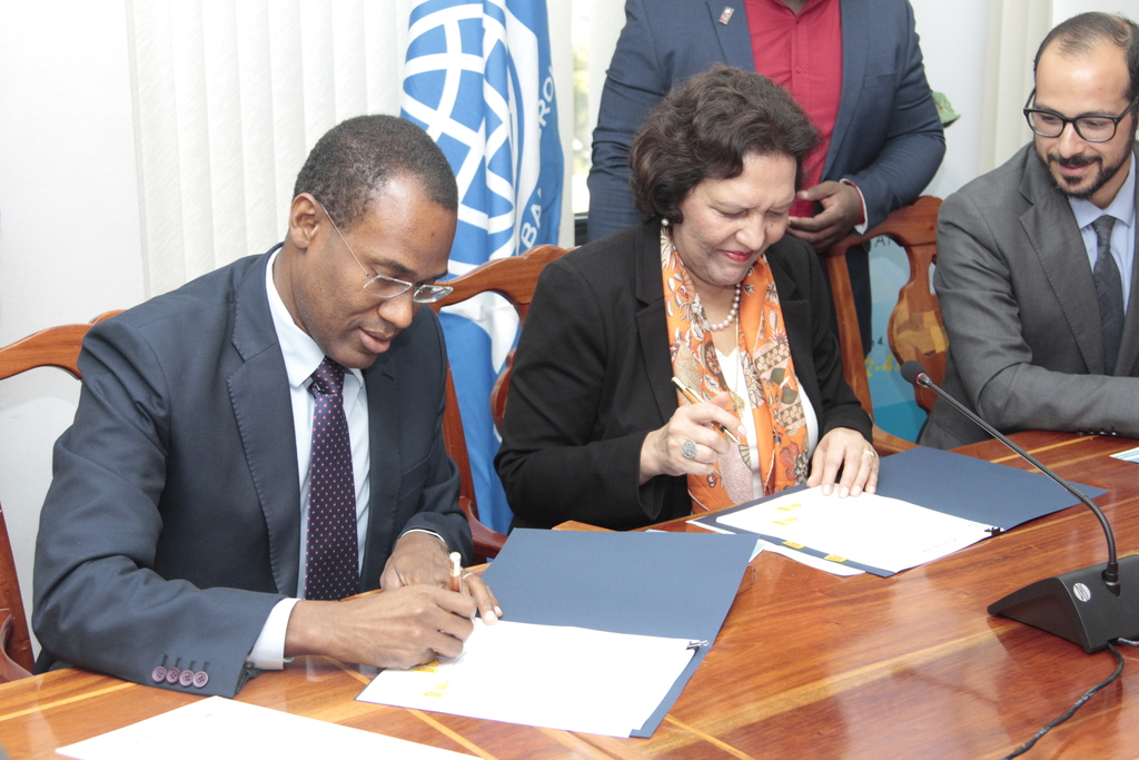 Minister of Finance Dr Nigel Clarke, and World Bank Director for the Caribbean, Tahseen Sayed signed the loan agreementAlso pictured is Resident Representative for Jamaica and Guyana, Latin America and the Caribbean Region, Ozan Sevimli.