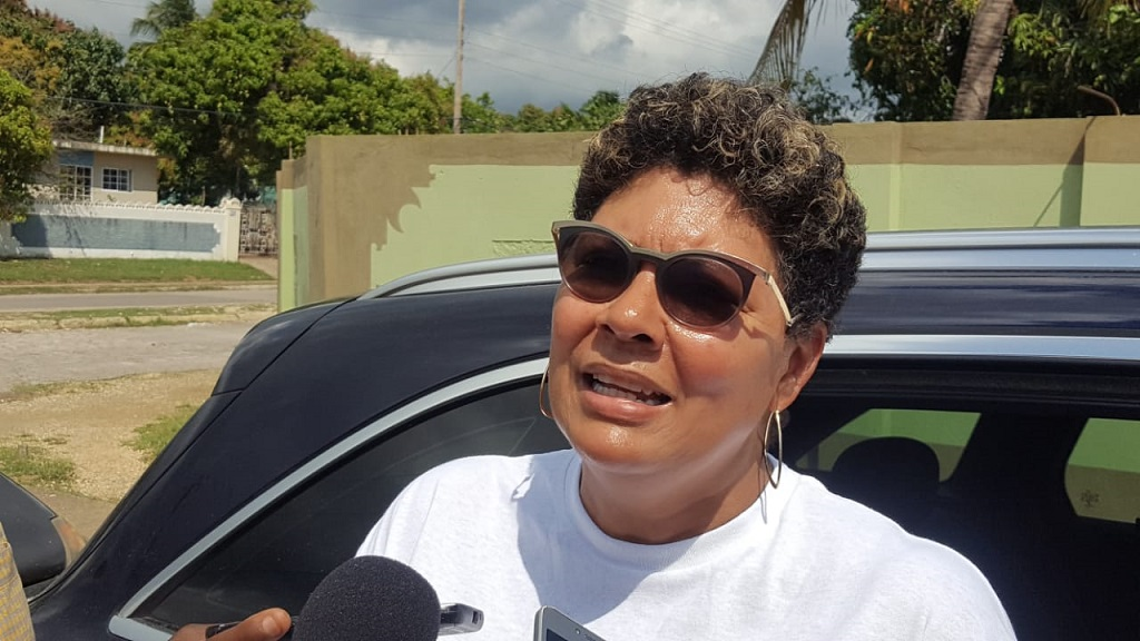 The People's National Party's Patricia Duncan Sutherland addresses journalists during the South East Clarendon by election which her party boycotted. (Photos: Marlon Reid)