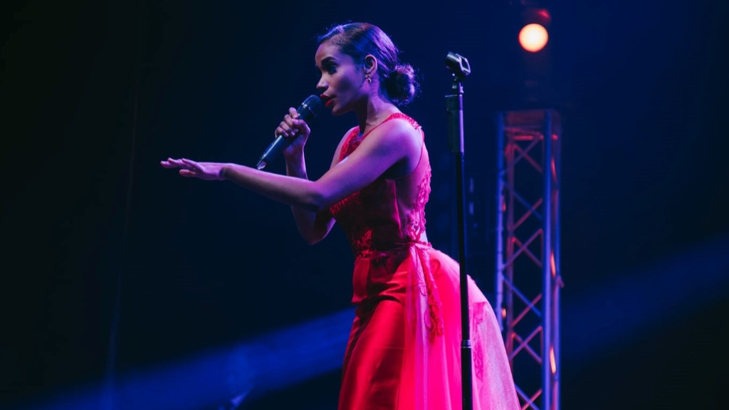 "Miss Jamaica Toni-Ann Singh performing at the Miss World ""Beauty with a Purpose"" Gala Dinner in London. Photo: Miss World"