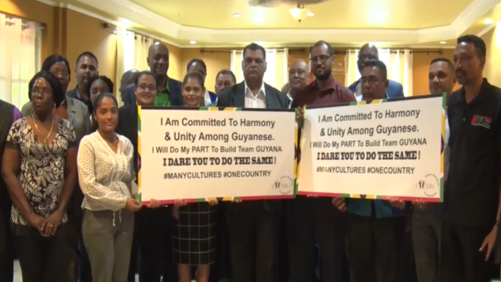 Political party representatives after they signed the code of conduct ahead Guyana's March 2 Regional and General Elections.