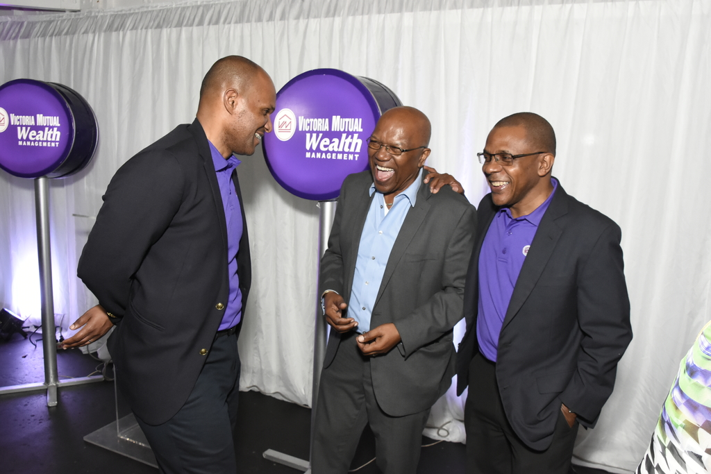 Rezworth Burchenson (left), CEO of VM Wealth Management shares a laugh with Dr Maurice Guy (centre), Member of Parliament for Central St Mary and Courtney Campbell, President of the Victoria Mutual Group. The event was VM Wealth Management's client mingle at Couples Sans Souci in Ocho Rios.