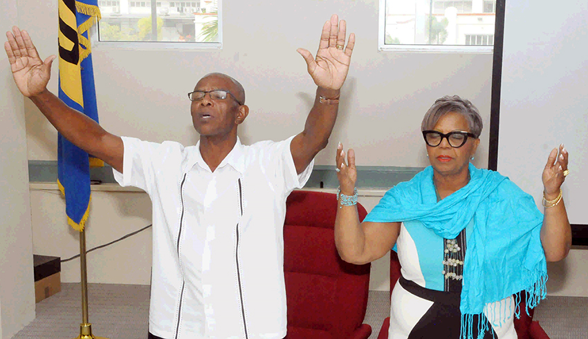 Minister of People Empowerment and Elder Affairs, Cynthia Forde and Pastor Patrick Drakes of the Barbados Evangelical Association (BGIS)