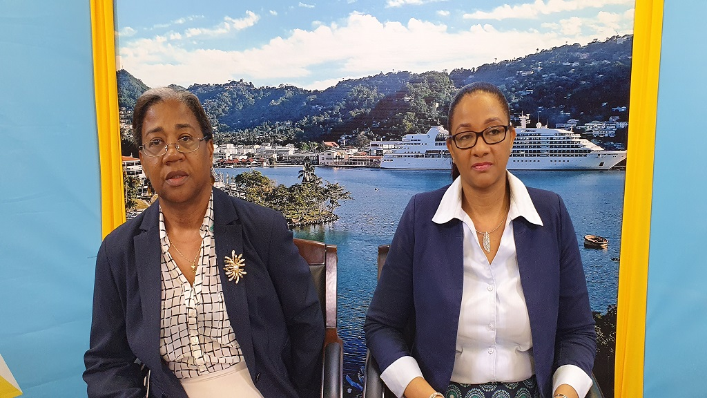 Health Minister, Senator Mary Isaac (Left) Saint Lucia COVID-19 Czar,  Dr Sharon Belmar - George  (Right)