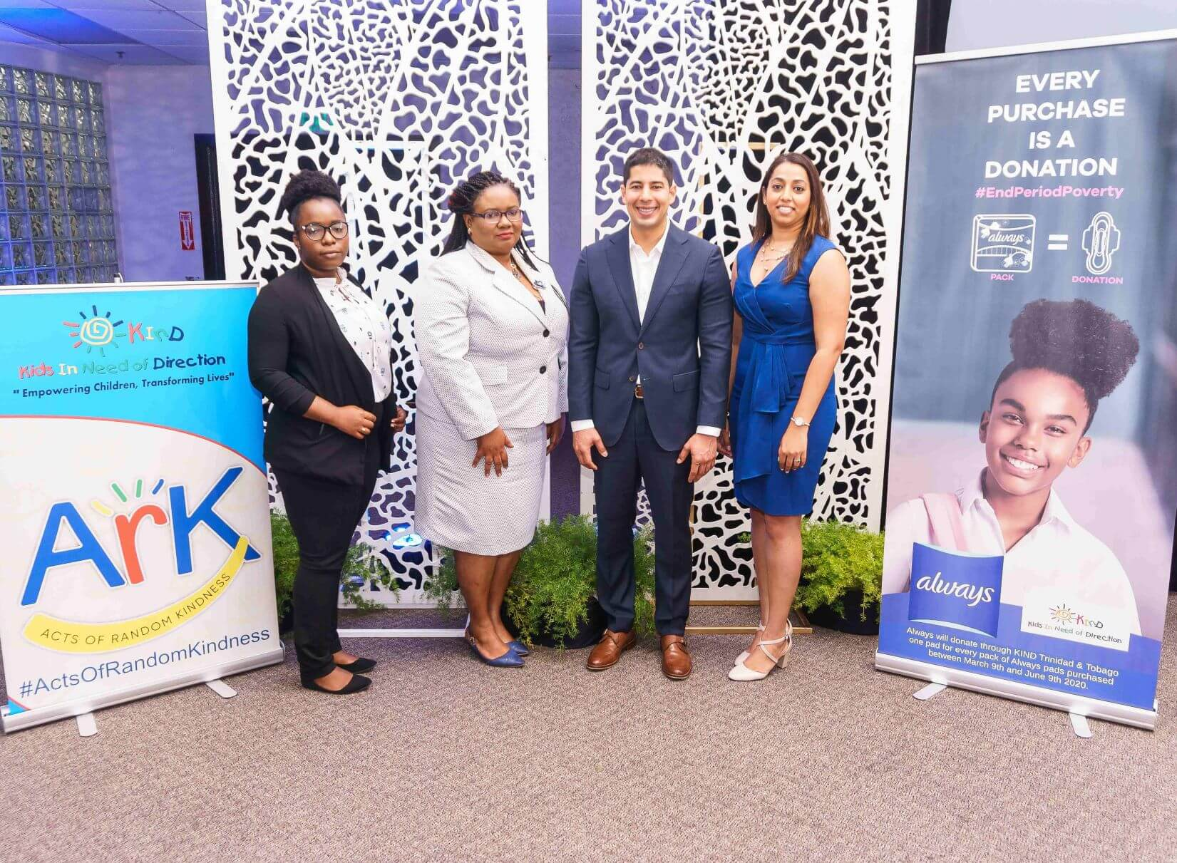 From left to right – Calive Joseph, Marketing Officer, Kids in Need of Direction; Simone Noel Haynes, School Supervisor III, POS Education District, Ministry of Education; Daniel Hurtado, Procter & Gamble Category Trade Manager and Reshma Geawan, AMCO Business Unit Head for P&G Brands.