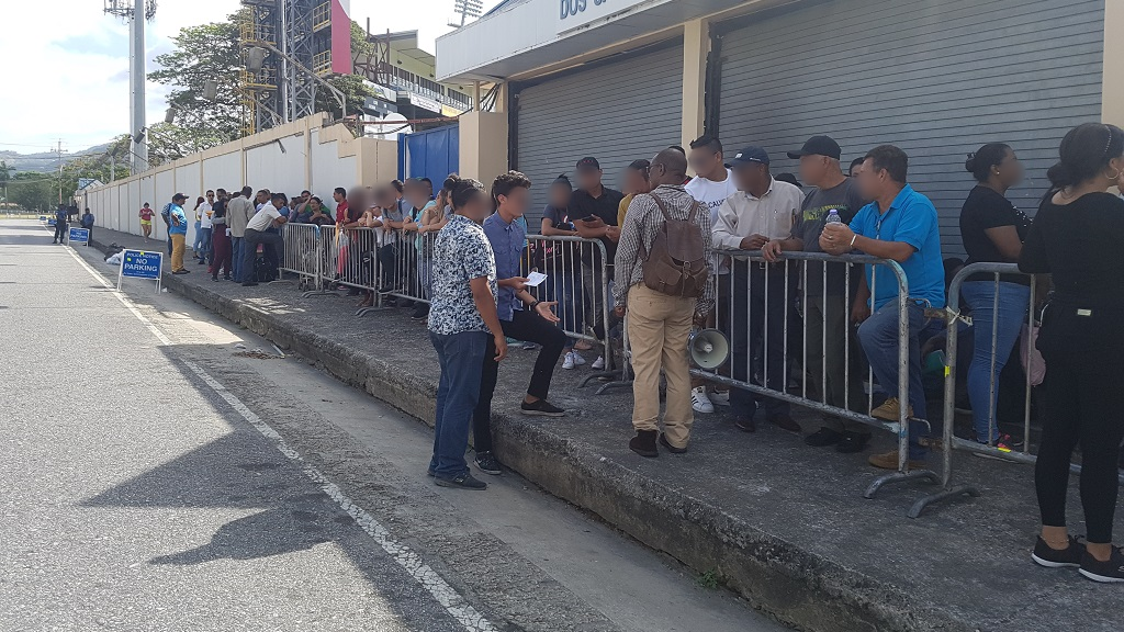 Flashback: Venezuelan nationals line up to register during the migrant registration process which took place from May 31 - June 14, 2019.