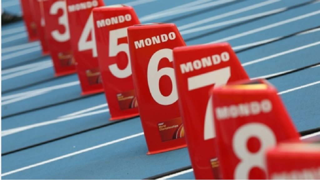 Athletics starting blocks.