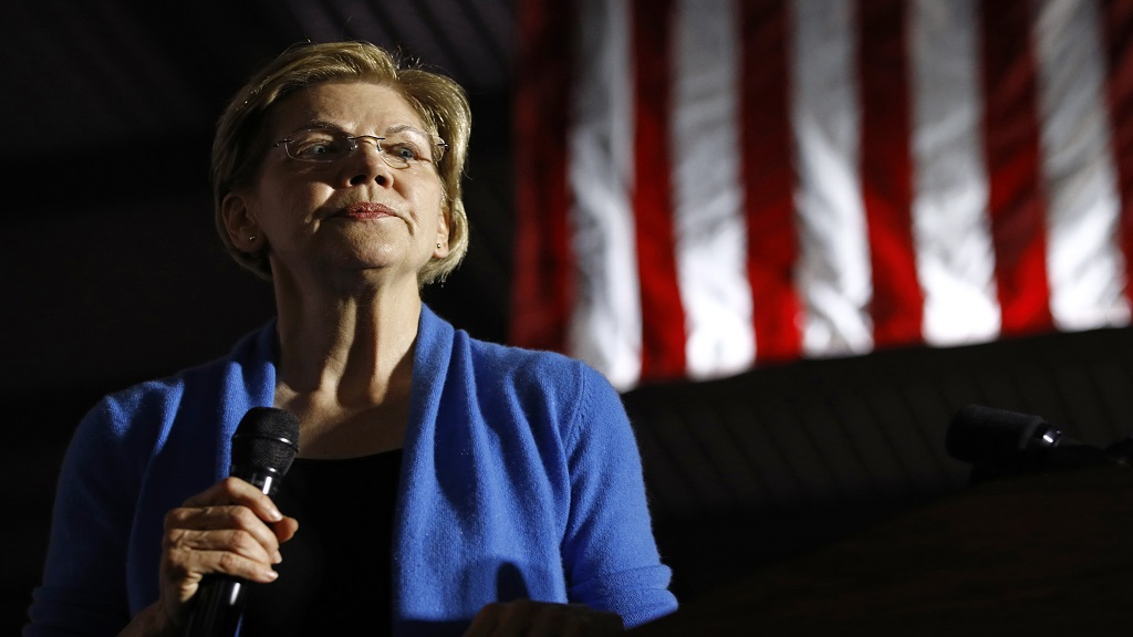 Democratic presidential candidate Sen. Elizabeth Warren, D-Mass, speaks during a primary election night rally, Tuesday, March 3, 2020, at Eastern Market in Detroit. (AP Photo/Patrick Semansky)