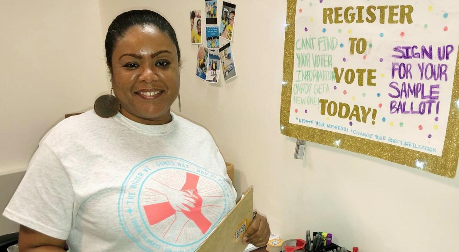 Marie Farah Valérie Larrieux à Fort Lauderdale (États-Unis) où elle coordonne une campagne d'engagement civique pour toute la région Broward.