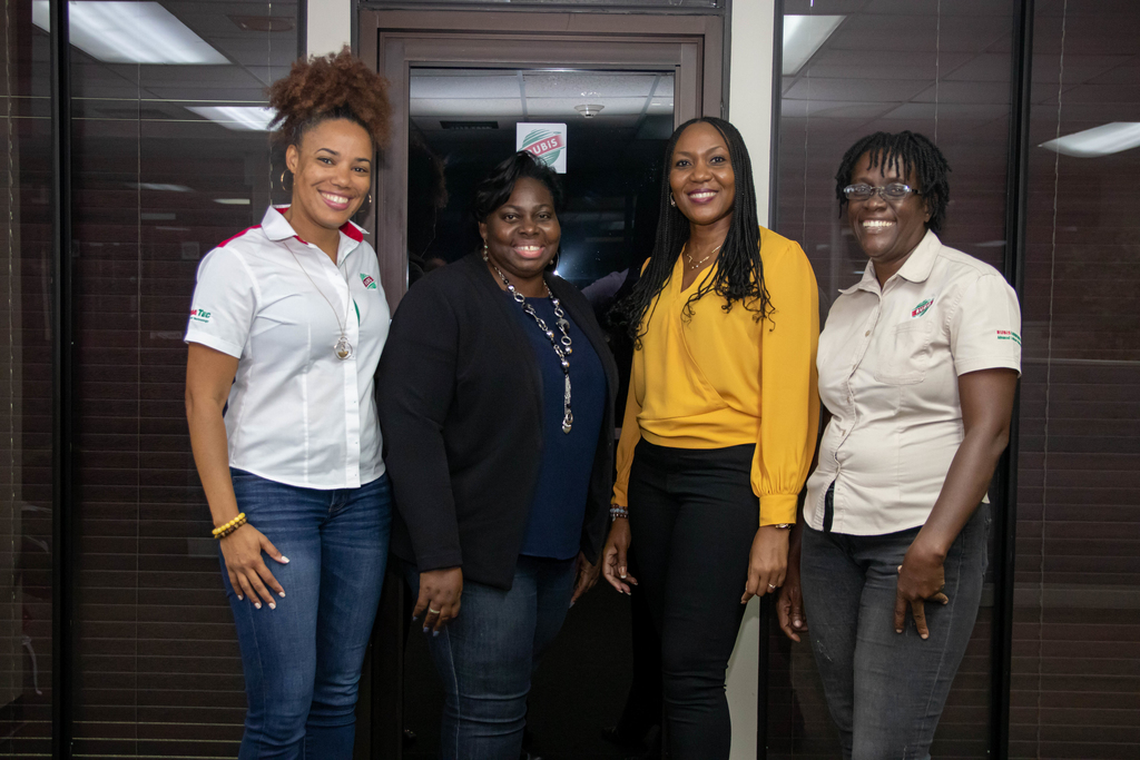 RUBiS Energy Jamaica's Forecourt & Non-Fuel Retailing Formats Manager, Kayla Morris; Supply and Logistics Manager, Linda Cameron; CFO, Ingrid Christian-Baker and Road Tanker Wagon Driver, Carol Clarke.