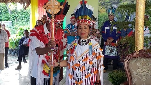 The new Queen of the Santa Rosa First Peoples Nona Lopez Calderon Galera Moreno Aquan