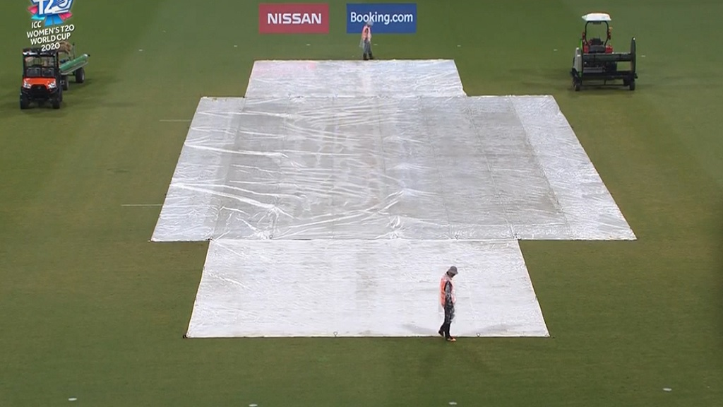Rain covers on the pitch after play between West Indies and South Africa was washed out at the Women's T20 World Cup on Tuesday at the Sydney   Showground Stadium.