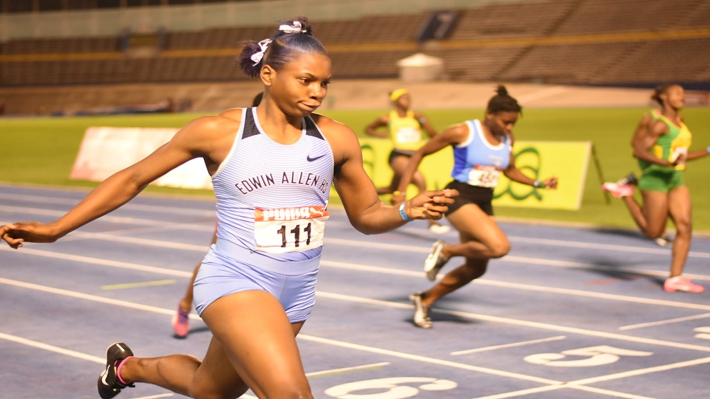 Kevona Davis of Edwin Allen High wins her preliminary round heat of the Girls' Under-20 100m at the Carifta Trials at the National Stadium on Friday, March 6, 2020. (PHOTOS: Marlon Reid).