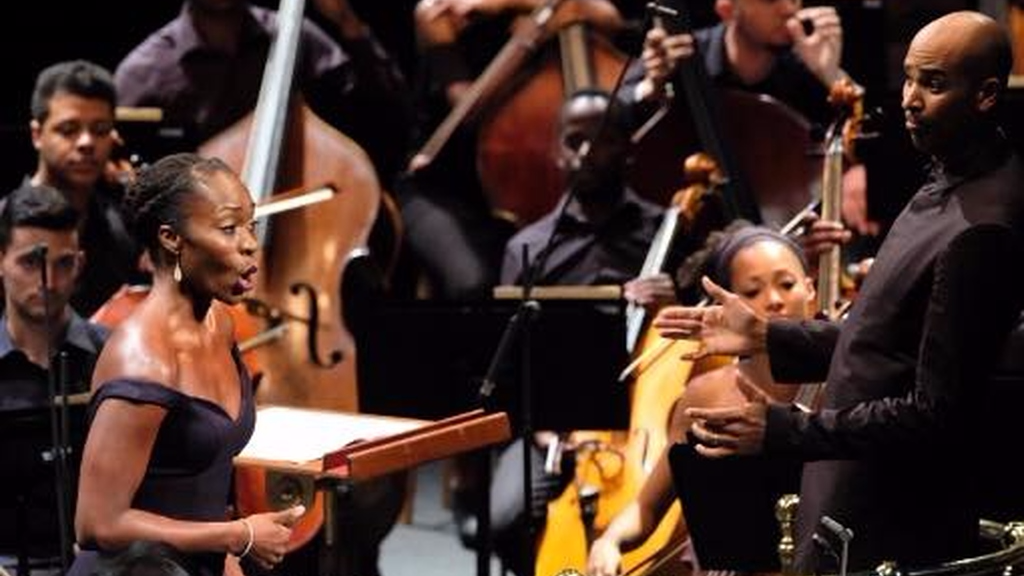 Opera singer Jeanine DeBique performing with the Chineke orchestra at the BBC Proms