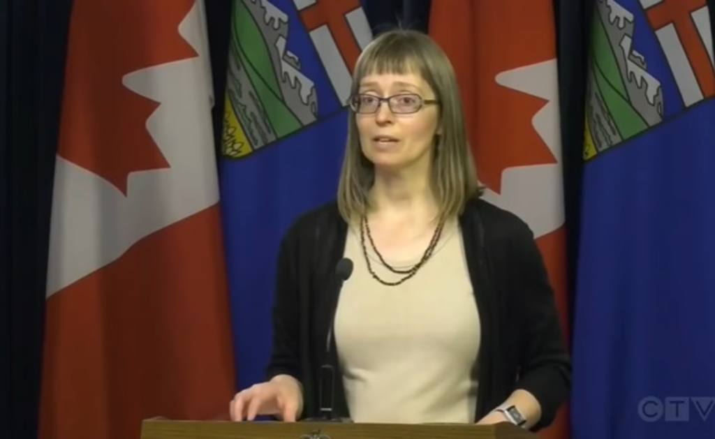 Clip from video feed showing Alberta's Chief Medical Officer Dr Deena Hinshaw addressing the media.