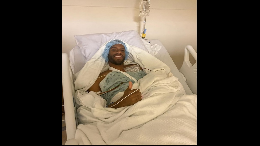 Kemoy Campbell in a hospital bed following surgery on Friday.