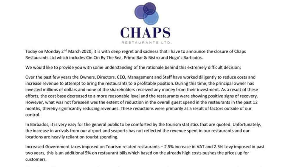 Part of the statement issued by Chaps Restaurant Ltd on closures of Cin Cin, Primo and Hugo