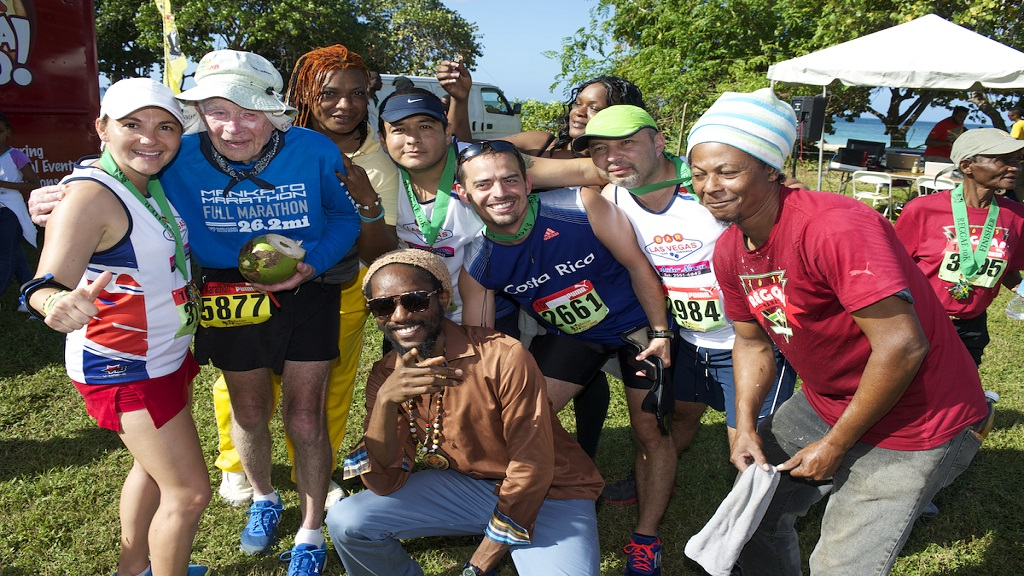 Burt Carlson (second left) posing with other runners at the Reggae Marathon in Negril, Westmoreland.
