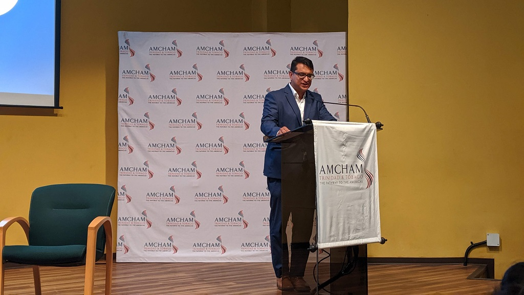 Photo: AMCHAM T&T's CEO Nirad Tewarie speaks at AMCHAM T&T's Water Pollution Rules Breakfast Seminar at the Arthur Lok Jack Global School of Business on Tuesday January 28, 2020.