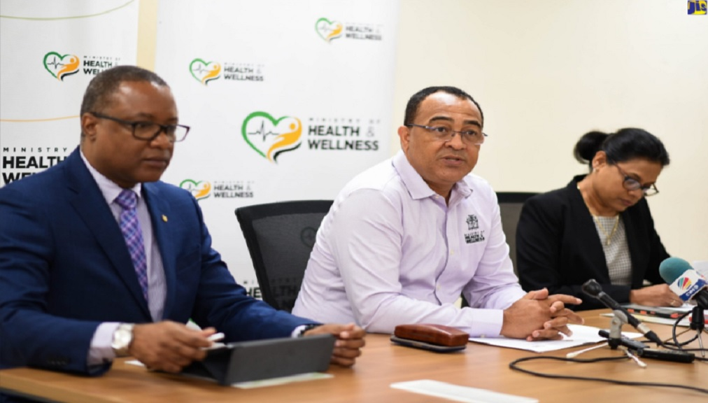 File photo of Health Minister Dr Christopher Tufton addressing journalists at a press conference.