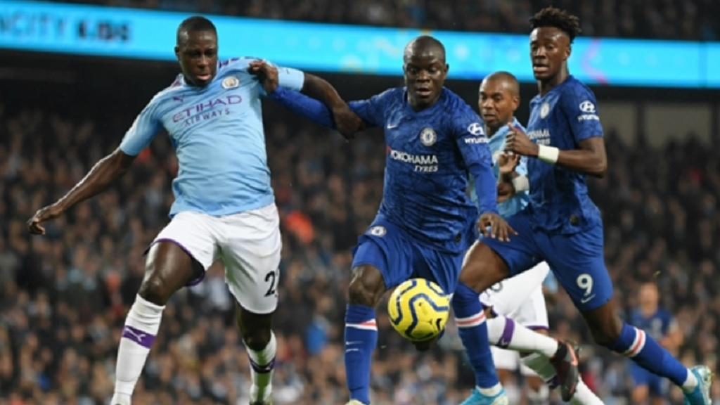 Manchester City in action against Chelsea.
