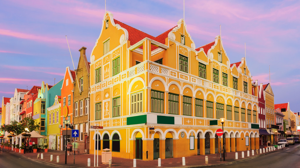 Downtown Willemstad at twilight, Curacao, Netherlands Antilles. GettyImages