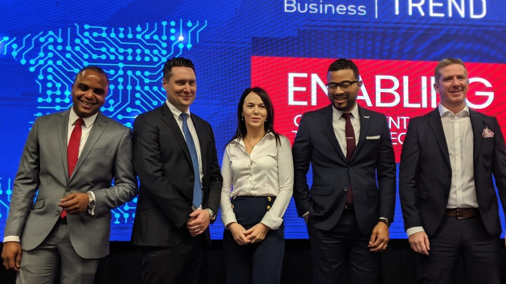 The Digicel team from left Shakka Subero, Liam Donnelly, Eileen Ruddy, Sean Phillips and Bryan Kane.