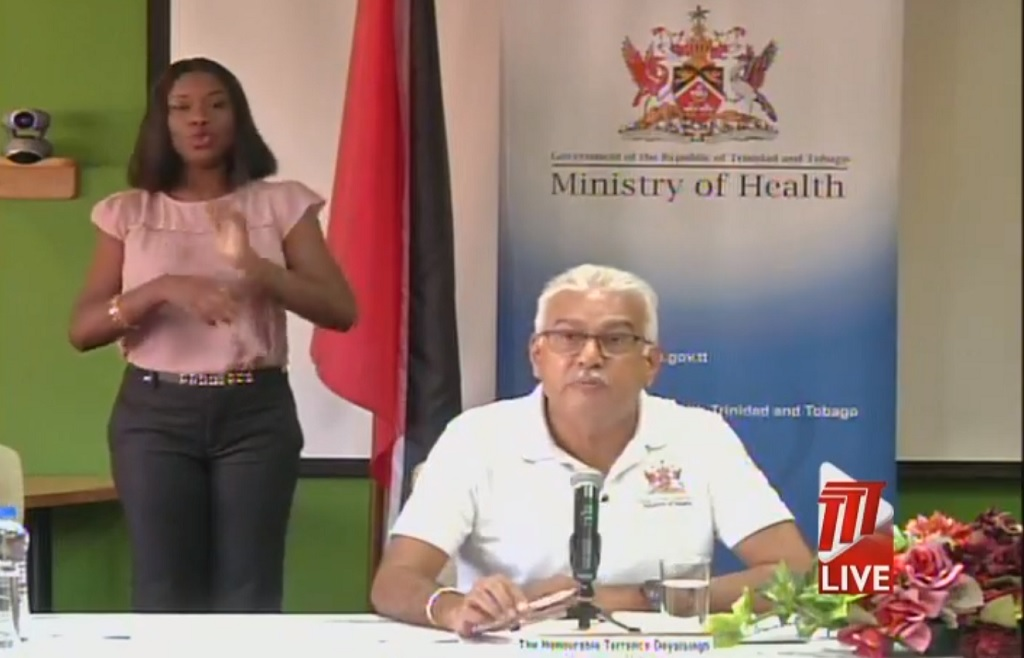 Photo: Screenshot via Facebook live video by TTT Live Online of a media briefing by the Health Ministry on the coronavirus (COVID-19) on March 14, 2020.