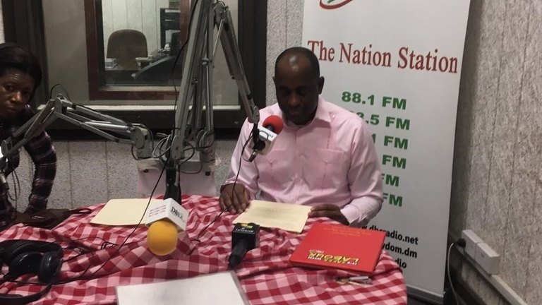 Prime Minister Roosevelt Skerrit addressing the nation tonight following his party's victory at the polls.