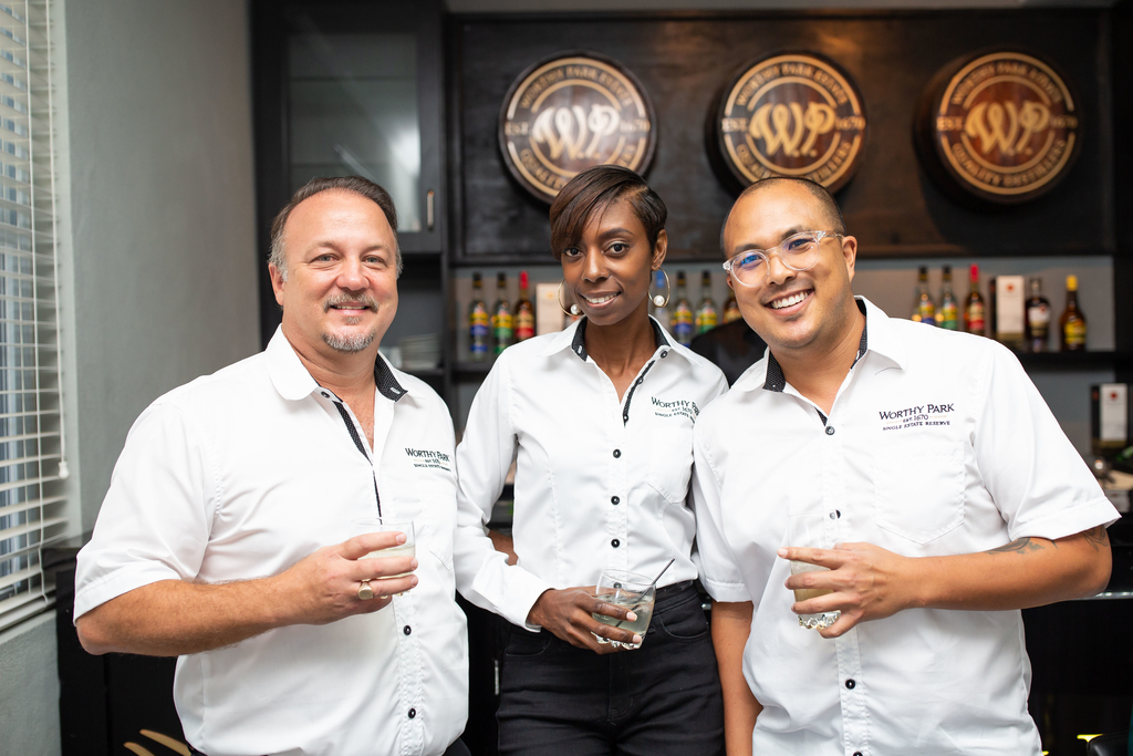 From left to right: Gordon Clarke, Managing Director of Worthy Park Estate, Tamika West, Marketing Manager and Alexander Kong, Export Sales Manager.